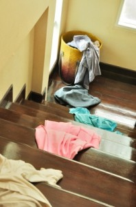 home mess - clothes on stairs