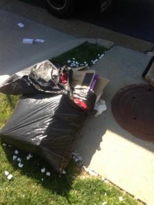 overflowing trash bag