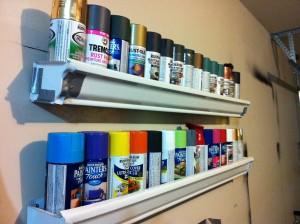 paint organized in garage