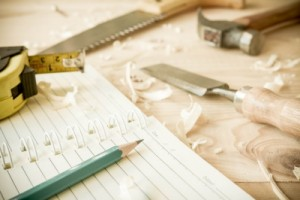 renovation tools & notebook