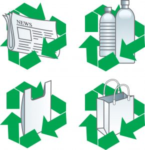 recycling paper and plastic
