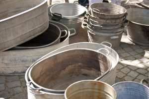 metal tubs and buckets