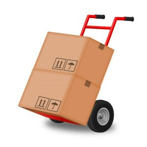 moving boxes with a hand truck